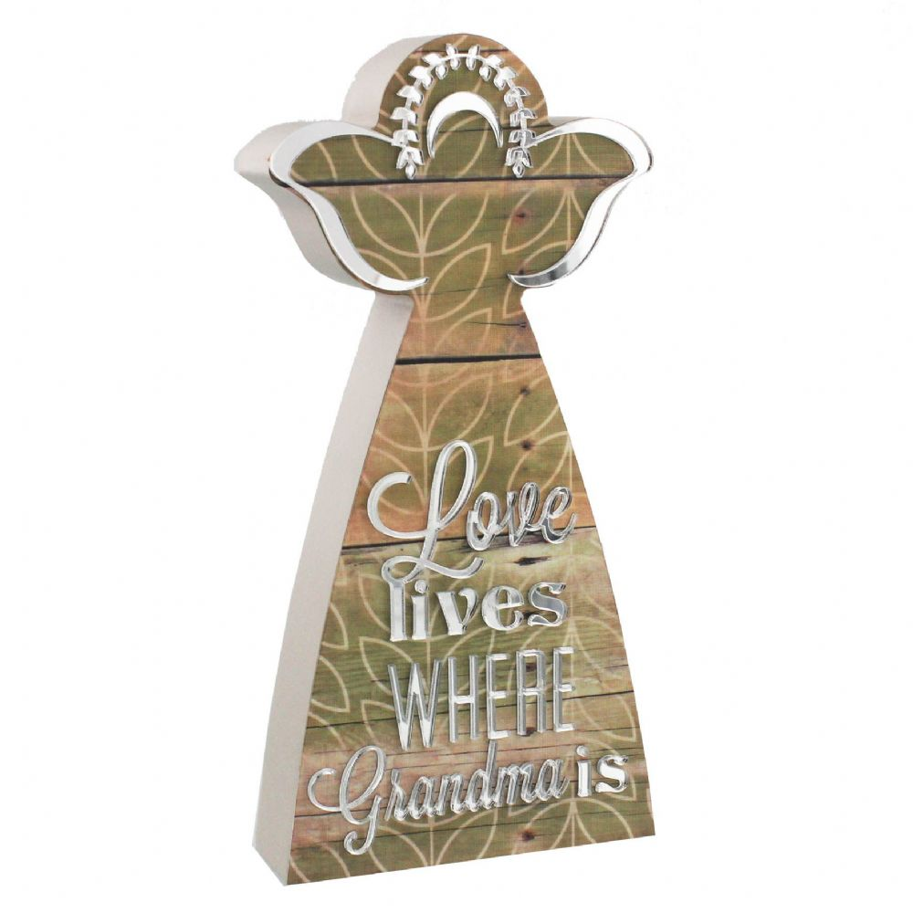 Love Lives Where Grandma is ~ Angel Ornament